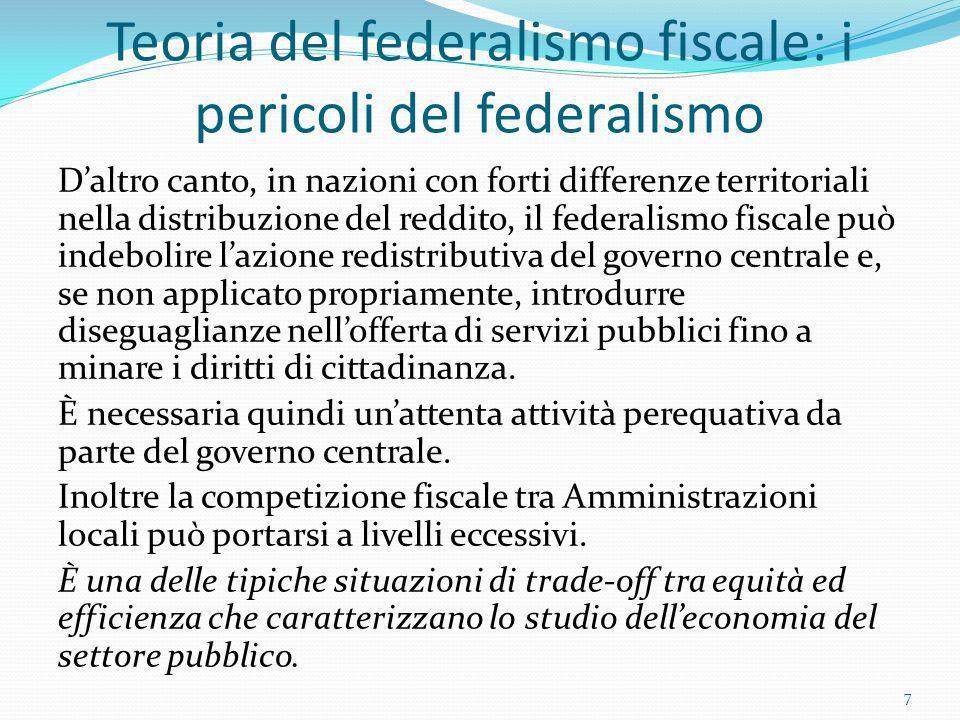 Teoria del federalismo fiscale: i pericoli del federalismo Daltro canto, in nazioni con forti differenze territoriali nella distribuzione del reddito,