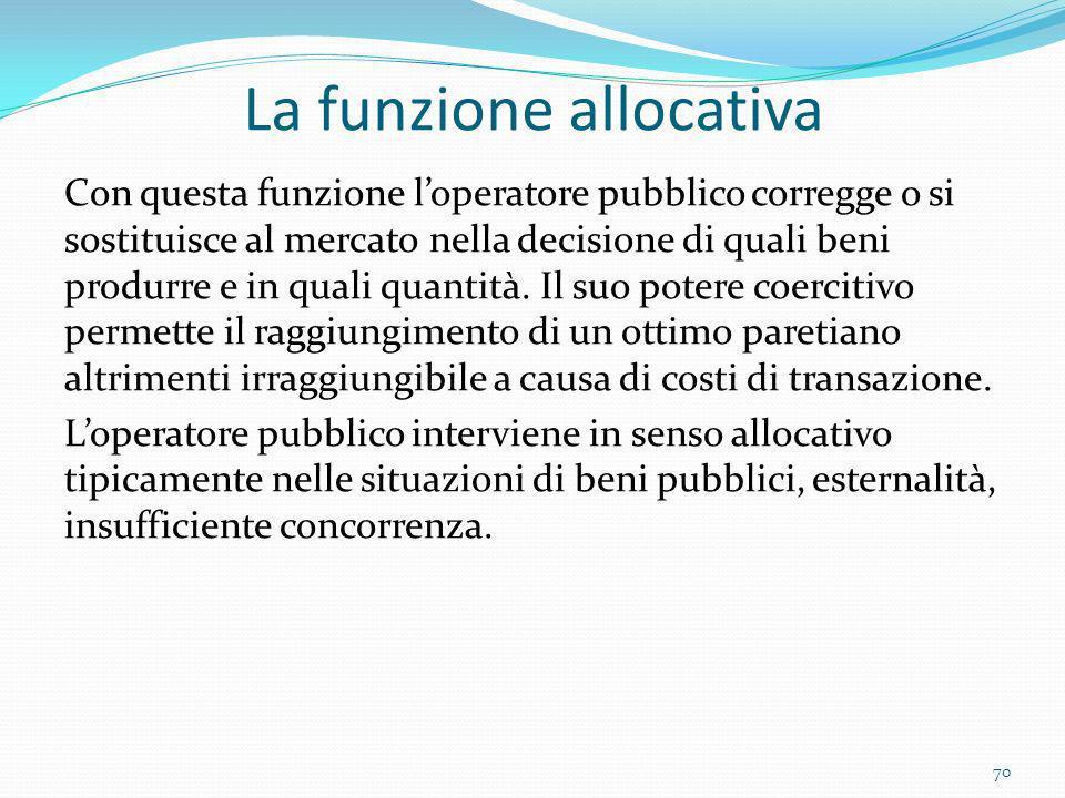 La funzione allocativa Con questa funzione loperatore pubblico corregge o si sostituisce al mercato nella decisione di quali beni produrre e in quali