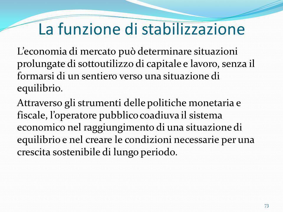 La funzione di stabilizzazione Leconomia di mercato può determinare situazioni prolungate di sottoutilizzo di capitale e lavoro, senza il formarsi di