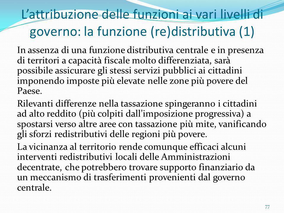 Lattribuzione delle funzioni ai vari livelli di governo: la funzione (re)distributiva (1) In assenza di una funzione distributiva centrale e in presen