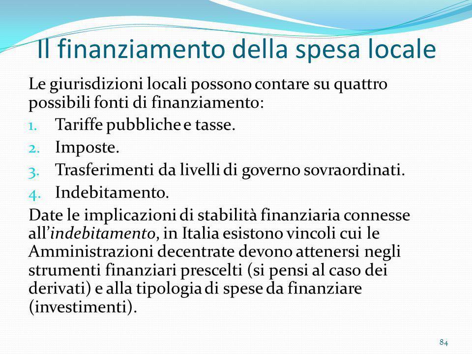 Il finanziamento della spesa locale Le giurisdizioni locali possono contare su quattro possibili fonti di finanziamento: 1. Tariffe pubbliche e tasse.