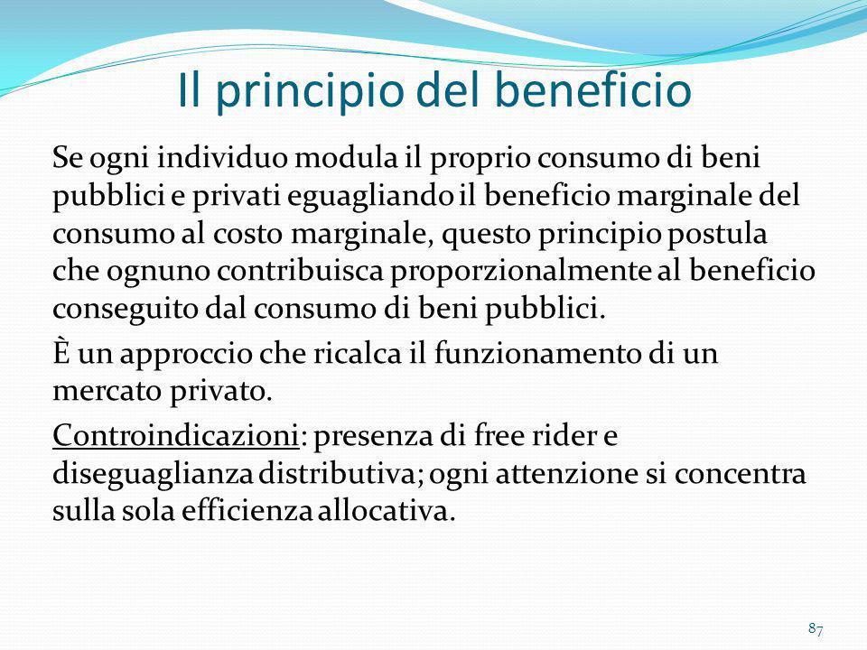 Il principio del beneficio Se ogni individuo modula il proprio consumo di beni pubblici e privati eguagliando il beneficio marginale del consumo al co