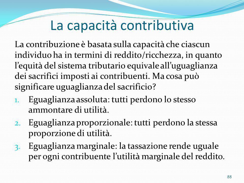 La capacità contributiva La contribuzione è basata sulla capacità che ciascun individuo ha in termini di reddito/ricchezza, in quanto lequità del sist