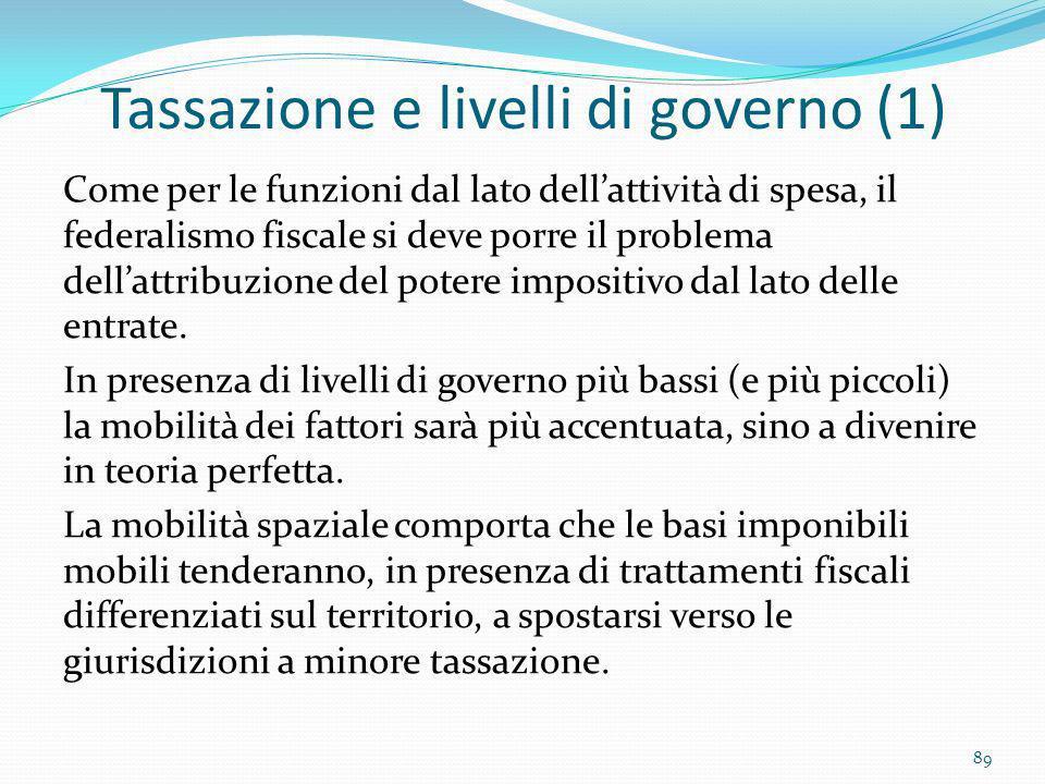Tassazione e livelli di governo (1) Come per le funzioni dal lato dellattività di spesa, il federalismo fiscale si deve porre il problema dellattribuz