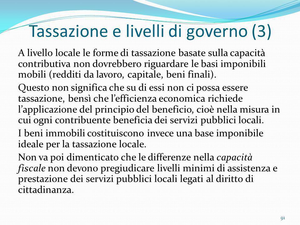 Tassazione e livelli di governo (3) A livello locale le forme di tassazione basate sulla capacità contributiva non dovrebbero riguardare le basi impon