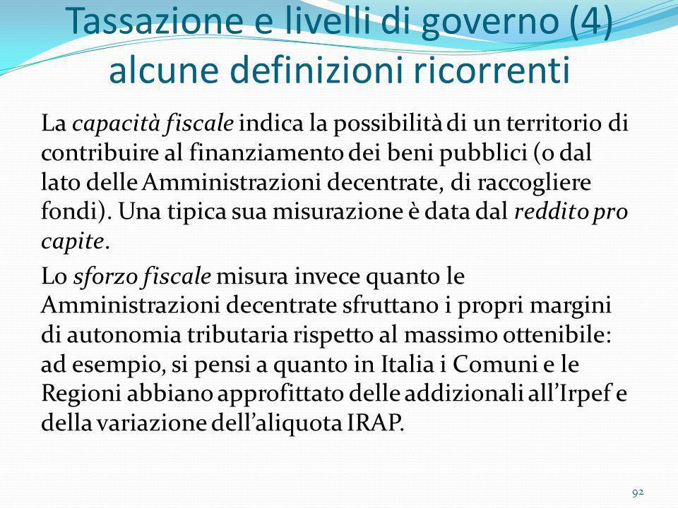 Tassazione e livelli di governo (4) alcune definizioni ricorrenti La capacità fiscale indica la possibilità di un territorio di contribuire al finanzi