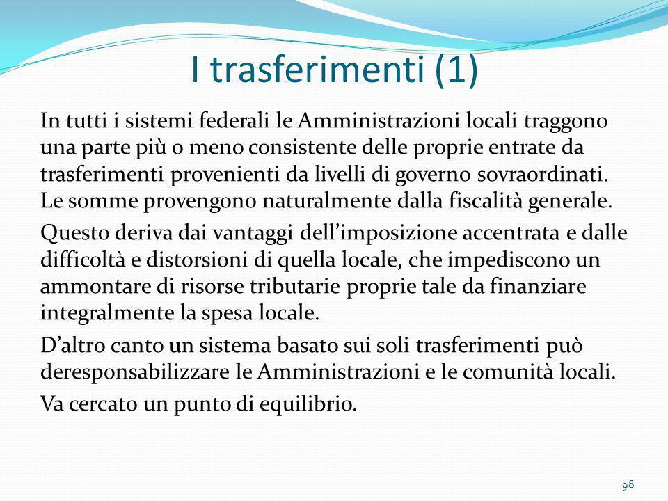 I trasferimenti (1) In tutti i sistemi federali le Amministrazioni locali traggono una parte più o meno consistente delle proprie entrate da trasferim