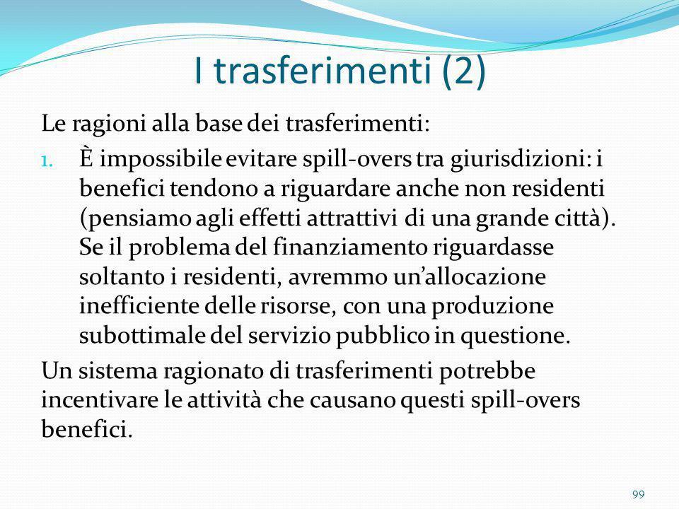 I trasferimenti (2) Le ragioni alla base dei trasferimenti: 1. È impossibile evitare spill-overs tra giurisdizioni: i benefici tendono a riguardare an