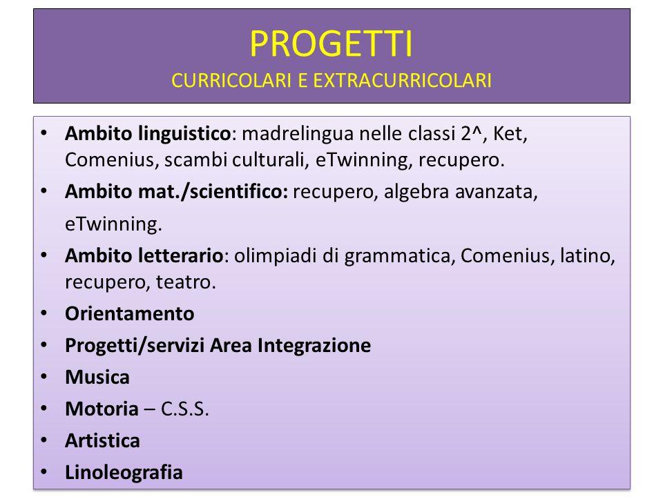 PROGETTI CURRICOLARI E EXTRACURRICOLARI Ambito linguistico: madrelingua nelle classi 2^, Ket, Comenius, scambi culturali, eTwinning, recupero. Ambito