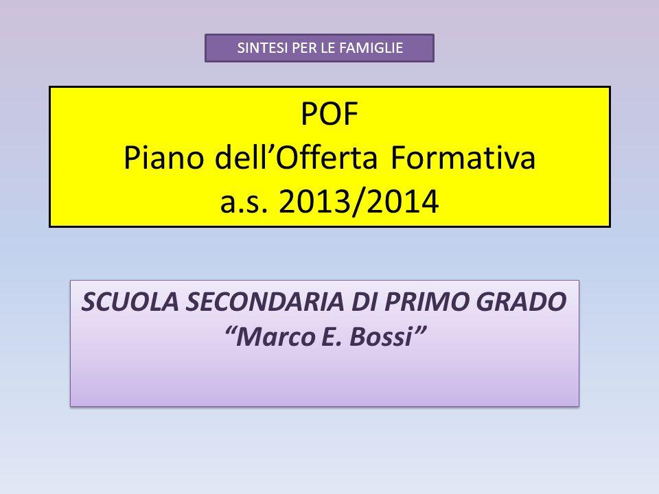 POF Piano dellOfferta Formativa a.s. 2013/2014 SCUOLA SECONDARIA DI PRIMO GRADO Marco E. Bossi SINTESI PER LE FAMIGLIE