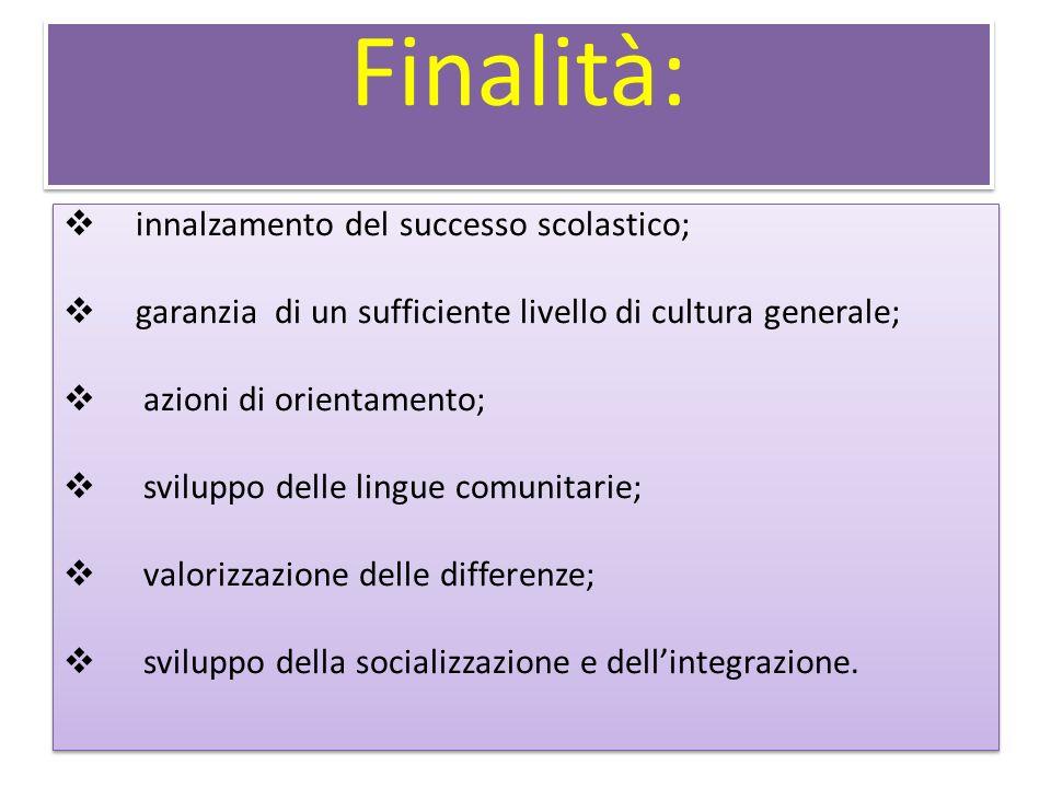 Finalità: innalzamento del successo scolastico; garanzia di un sufficiente livello di cultura generale; azioni di orientamento; sviluppo delle lingue comunitarie; valorizzazione delle differenze; sviluppo della socializzazione e dellintegrazione.