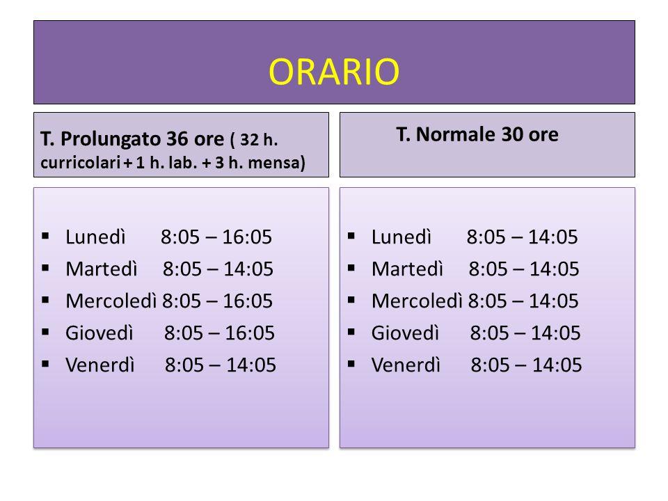 ORARIO T. Prolungato 36 ore ( 32 h. curricolari + 1 h. lab. + 3 h. mensa) Lunedì 8:05 – 16:05 Martedì 8:05 – 14:05 Mercoledì 8:05 – 16:05 Giovedì 8:05
