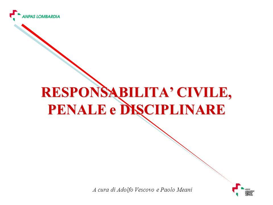 A cura di Adolfo Vescovo e Paolo Meani RESPONSABILITA CIVILE, PENALE e DISCIPLINARE