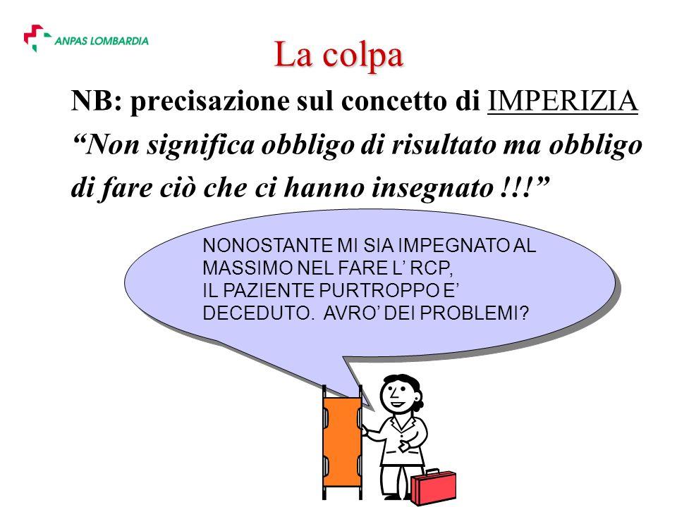 La colpa NB: precisazione sul concetto di IMPERIZIA Non significa obbligo di risultato ma obbligo di fare ciò che ci hanno insegnato !!.