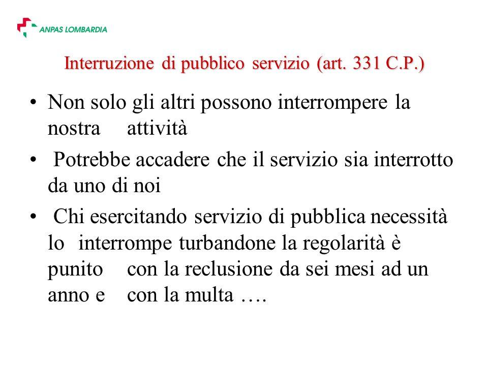 Interruzione di pubblico servizio (art.