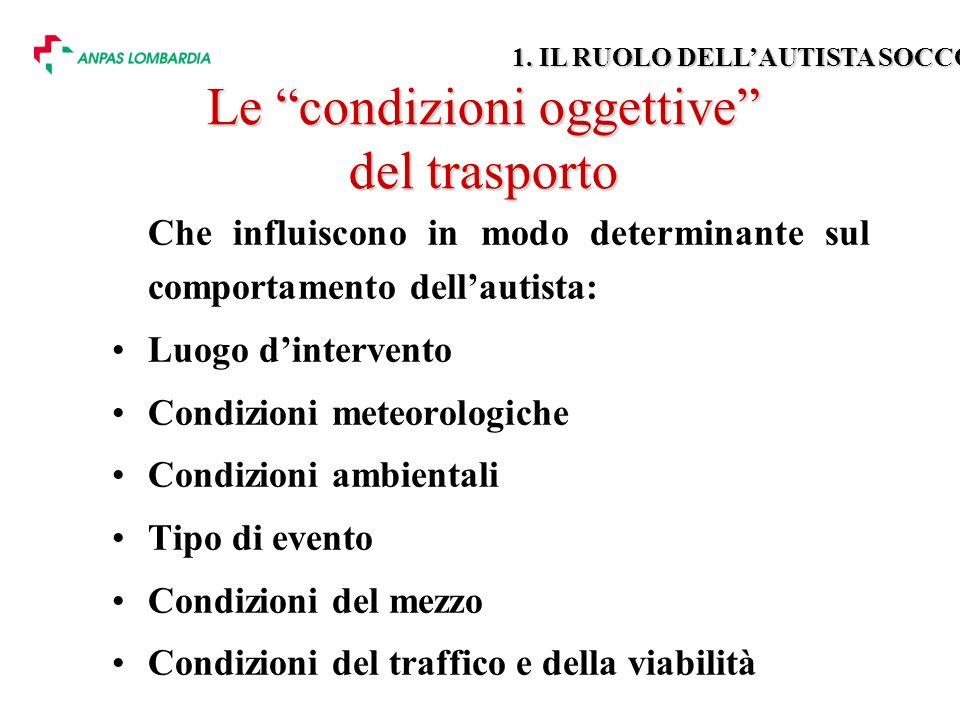 Le condizioni oggettive del trasporto Che influiscono in modo determinante sul comportamento dellautista: Luogo dintervento Condizioni meteorologiche Condizioni ambientali Tipo di evento Condizioni del mezzo Condizioni del traffico e della viabilità 1.