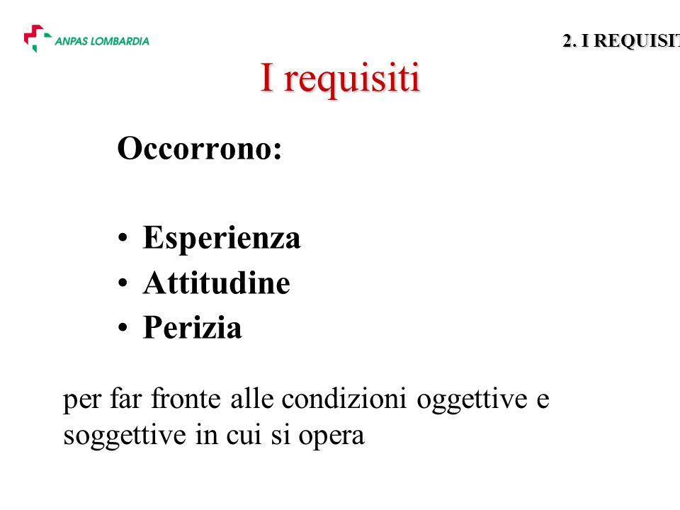 I requisiti Occorrono: Esperienza Attitudine Perizia per far fronte alle condizioni oggettive e soggettive in cui si opera 2.