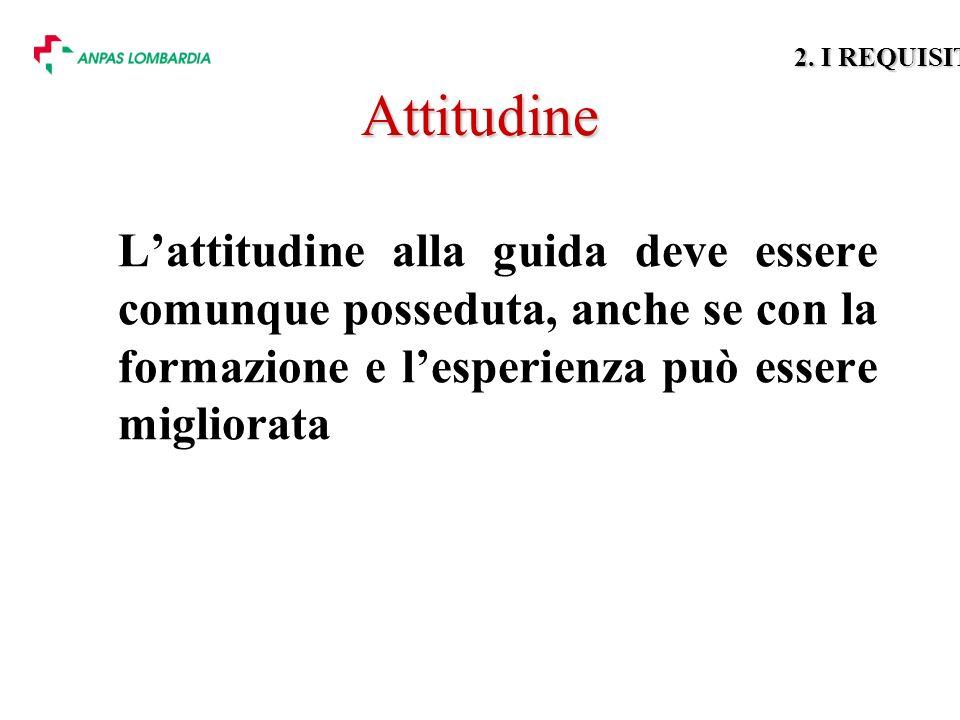 Attitudine Lattitudine alla guida deve essere comunque posseduta, anche se con la formazione e lesperienza può essere migliorata 2.