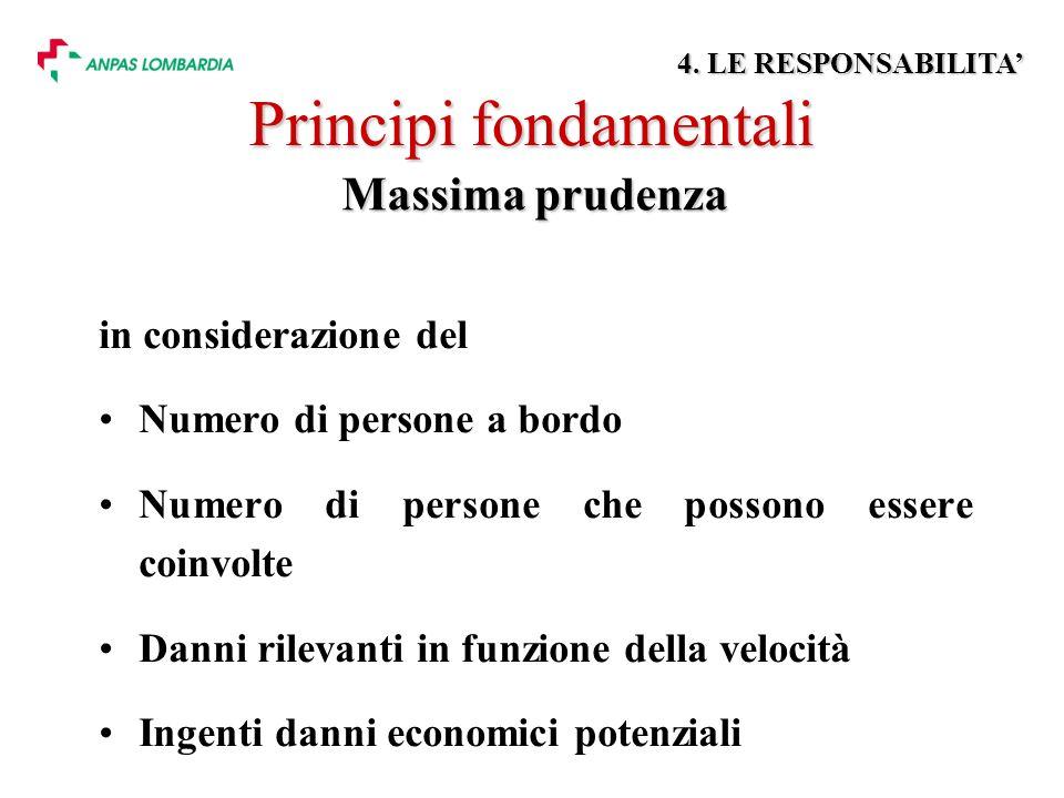 Principi fondamentali in considerazione del Numero di persone a bordo Numero di persone che possono essere coinvolte Danni rilevanti in funzione della velocità Ingenti danni economici potenziali Massima prudenza 4.