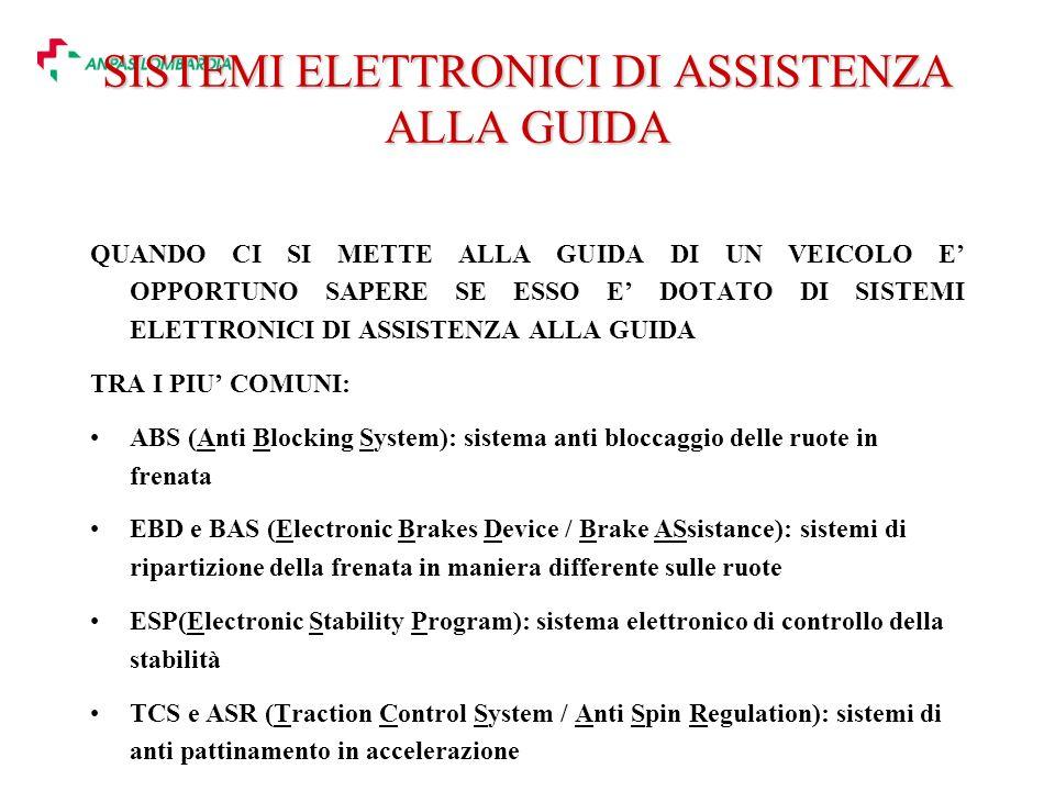 SISTEMI ELETTRONICI DI ASSISTENZA ALLA GUIDA QUANDO CI SI METTE ALLA GUIDA DI UN VEICOLO E OPPORTUNO SAPERE SE ESSO E DOTATO DI SISTEMI ELETTRONICI DI ASSISTENZA ALLA GUIDA TRA I PIU COMUNI: ABS (Anti Blocking System): sistema anti bloccaggio delle ruote in frenata EBD e BAS (Electronic Brakes Device / Brake ASsistance): sistemi di ripartizione della frenata in maniera differente sulle ruote ESP(Electronic Stability Program): sistema elettronico di controllo della stabilità TCS e ASR (Traction Control System / Anti Spin Regulation): sistemi di anti pattinamento in accelerazione