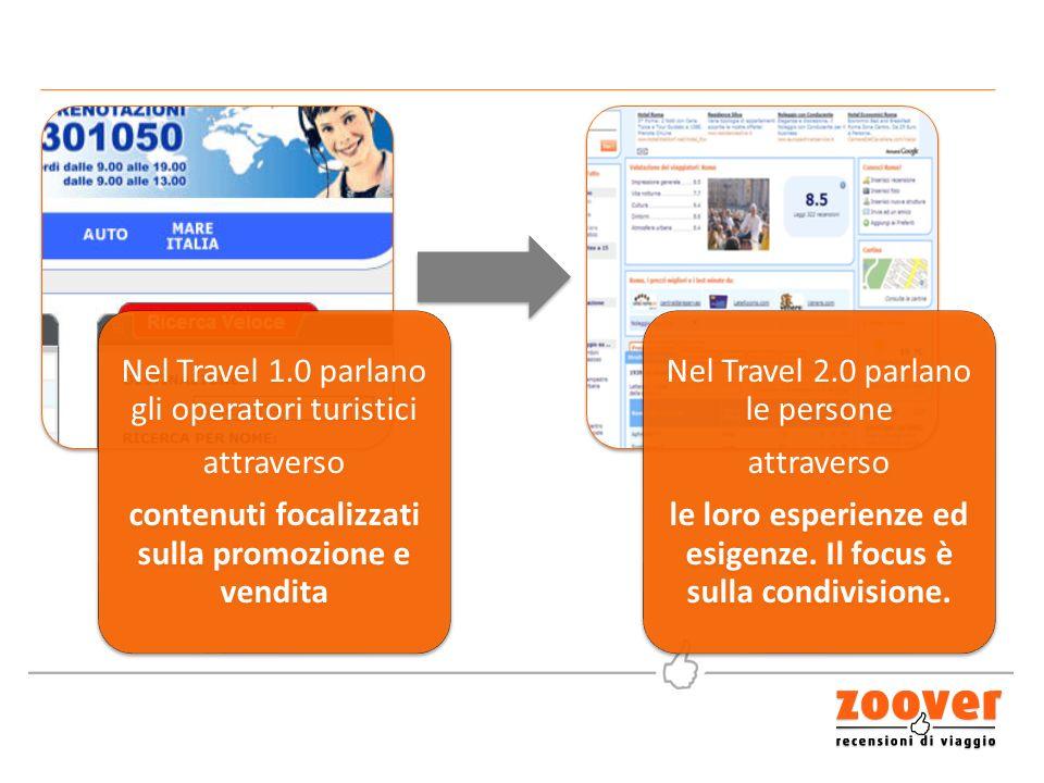 Nel Travel 1.0 parlano gli operatori turistici attraverso contenuti focalizzati sulla promozione e vendita Nel Travel 2.0 parlano le persone attraverso le loro esperienze ed esigenze.