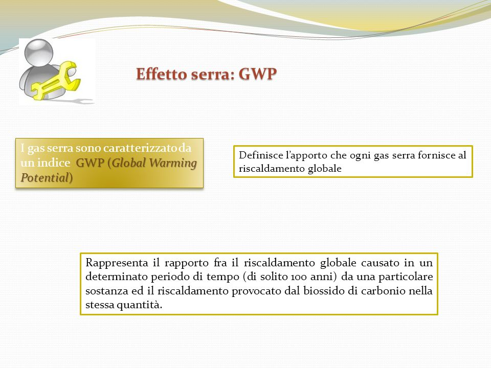 Effetto serra: GWP Effetto serra: GWP GWP (Global Warming Potential) I gas serra sono caratterizzato da un indice GWP (Global Warming Potential) Defin
