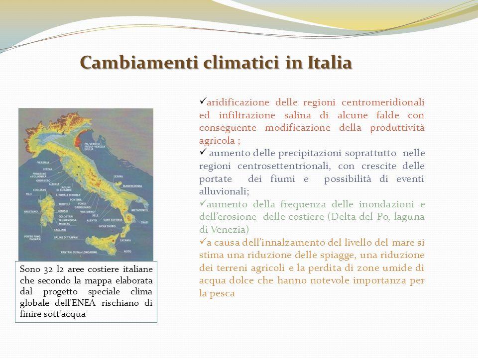 Cambiamenti climatici in Italia Sono 32 l2 aree costiere italiane che secondo la mappa elaborata dal progetto speciale clima globale dellENEA rischian
