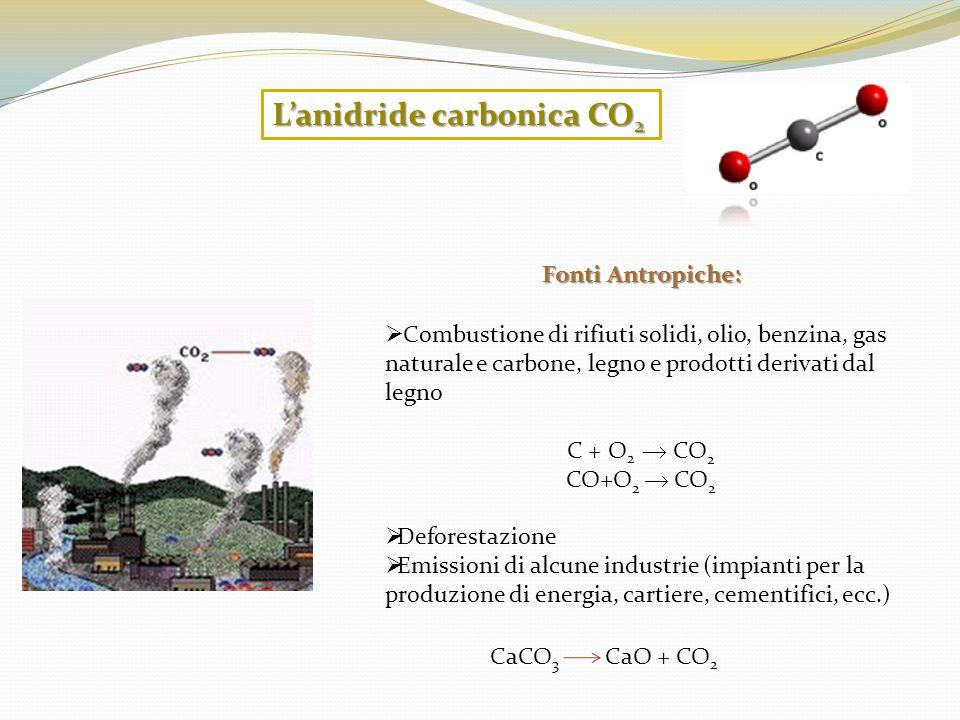 Combustione di rifiuti solidi, olio, benzina, gas naturale e carbone, legno e prodotti derivati dal legno C + O 2 CO 2 CO+O 2 CO 2 Deforestazione Emis