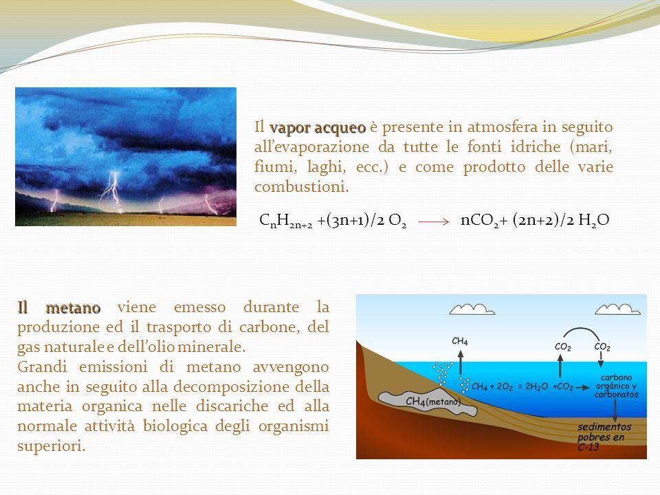 vapor acqueo Il vapor acqueo è presente in atmosfera in seguito allevaporazione da tutte le fonti idriche (mari, fiumi, laghi, ecc.) e come prodotto d
