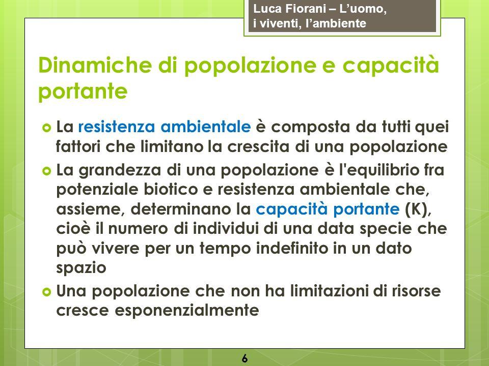 Luca Fiorani – Luomo, i viventi, lambiente Dinamiche di popolazione e capacità portante In realtà, all inizio si ha una crescita esponenziale, quindi una diminuzione della crescita (resistenza ambientale) e infine una fluttuazione attorno alla capacità portante (crescita logistica) 7
