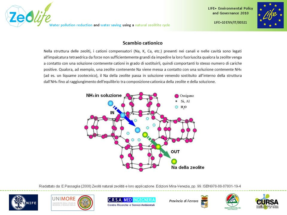 Water pollution reduction and water saving using a natural zeolitite cycle LIFE+ Environmental Policy and Governance 2010 LIFE+10 ENV/IT/00321 Provincia di Ferrara