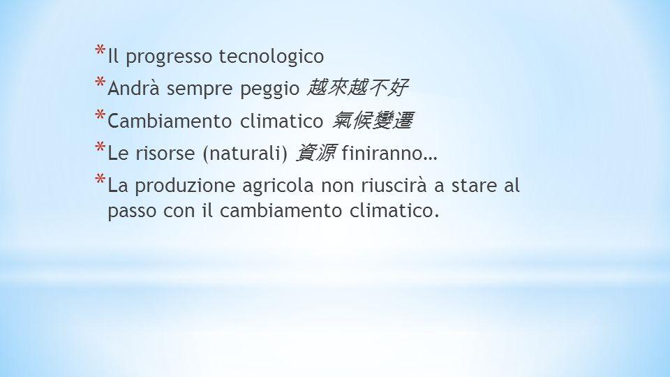 * Il progresso tecnologico * Andrà sempre peggio * Cambiamento climatico * Le risorse (naturali) finiranno… * La produzione agricola non riuscirà a stare al passo con il cambiamento climatico.
