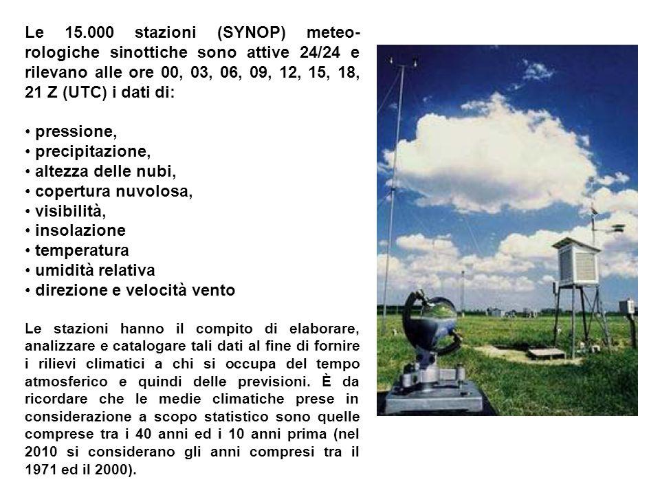 Le 15.000 stazioni (SYNOP) meteo- rologiche sinottiche sono attive 24/24 e rilevano alle ore 00, 03, 06, 09, 12, 15, 18, 21 Z (UTC) i dati di: pressione, precipitazione, altezza delle nubi, copertura nuvolosa, visibilità, insolazione temperatura umidità relativa direzione e velocità vento Le stazioni hanno il compito di elaborare, analizzare e catalogare tali dati al fine di fornire i rilievi climatici a chi si occupa del tempo atmosferico e quindi delle previsioni.
