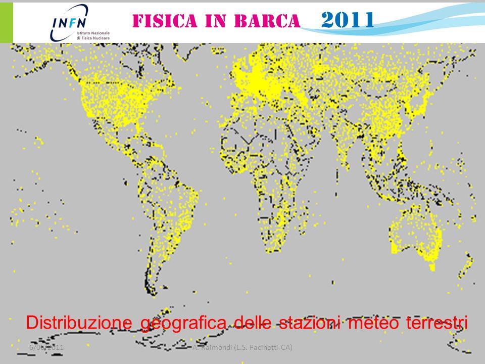 Distribuzione geografica delle stazioni meteo terrestri 6/06/2011A. Raimondi (L.S. Pacinotti-CA)