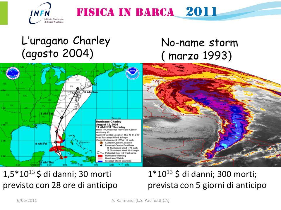 Luragano Charley (agosto 2004) No-name storm ( marzo 1993) 1*10 13 $ di danni; 300 morti; prevista con 5 giorni di anticipo 1,5*10 13 $ di danni; 30 morti previsto con 28 ore di anticipo 6/06/2011A.