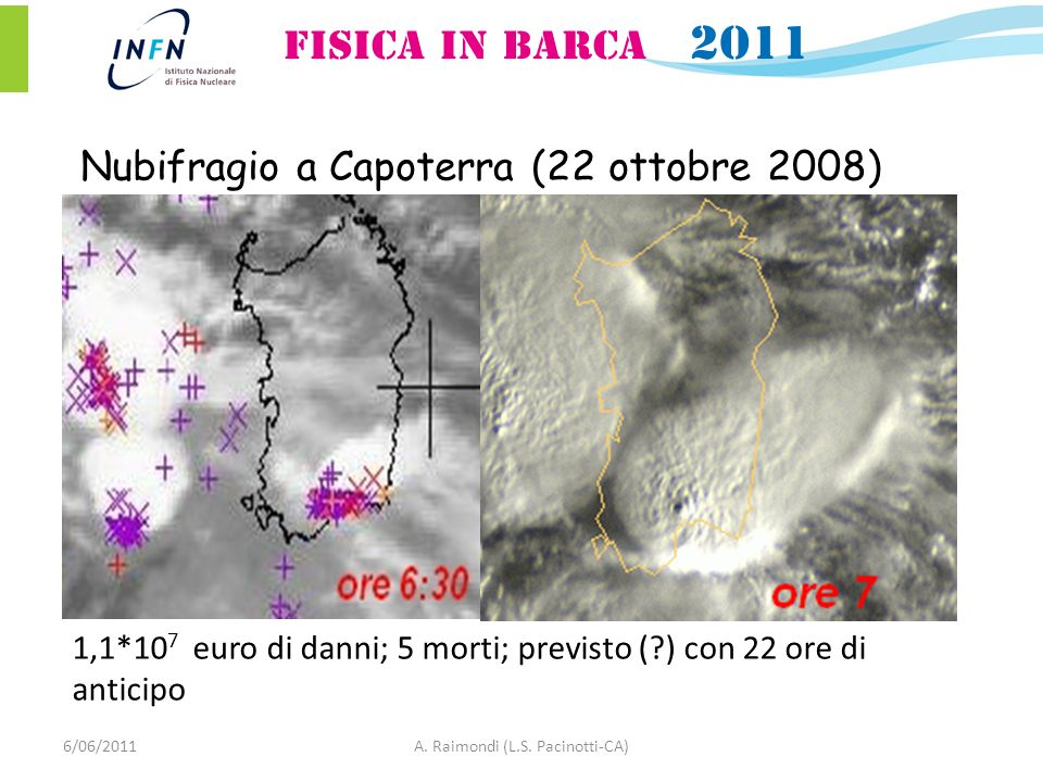 Nubifragio a Capoterra (22 ottobre 2008) 1,1*10 7 euro di danni; 5 morti; previsto (?) con 22 ore di anticipo 6/06/2011A. Raimondi (L.S. Pacinotti-CA)