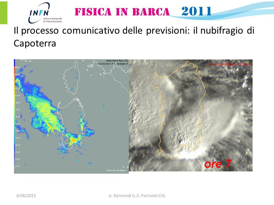 6/06/2011A. Raimondi (L.S. Pacinotti-CA) www.sardegna-clima.it Il processo comunicativo delle previsioni: il nubifragio di Capoterra