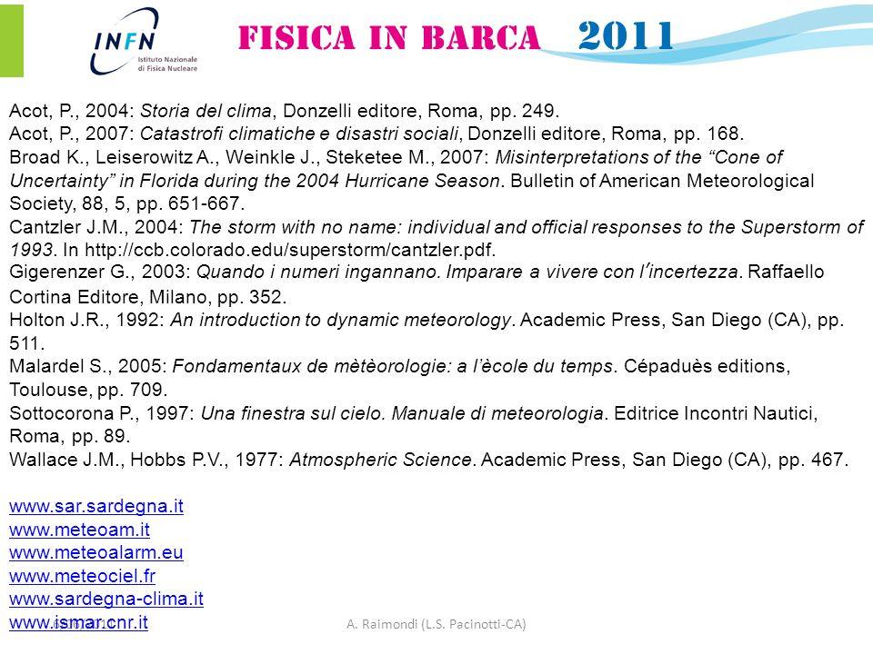6/06/2011A. Raimondi (L.S. Pacinotti-CA) Acot, P., 2004: Storia del clima, Donzelli editore, Roma, pp. 249. Acot, P., 2007: Catastrofi climatiche e di