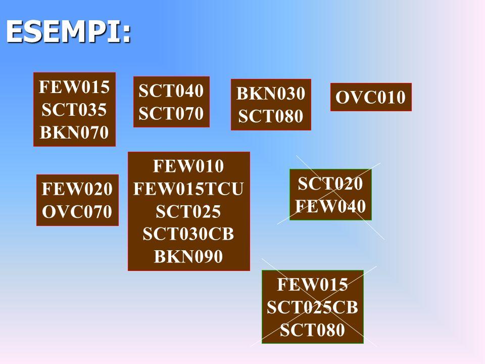 ESEMPI: FEW015 SCT035 BKN070 SCT040 SCT070 BKN030 SCT080 OVC010 FEW020 OVC070 FEW010 FEW015TCU SCT025 SCT030CB BKN090 SCT020 FEW040 FEW015 SCT025CB SCT080