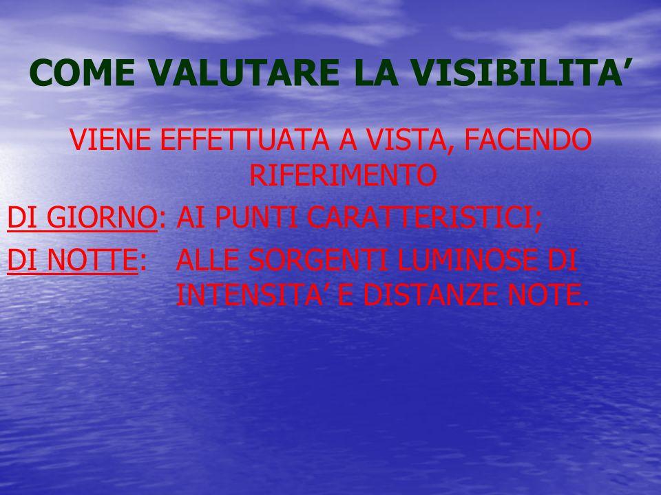COME VALUTARE LA VISIBILITA VIENE EFFETTUATA A VISTA, FACENDO RIFERIMENTO DI GIORNO: AI PUNTI CARATTERISTICI; DI NOTTE: ALLE SORGENTI LUMINOSE DI INTENSITA E DISTANZE NOTE.