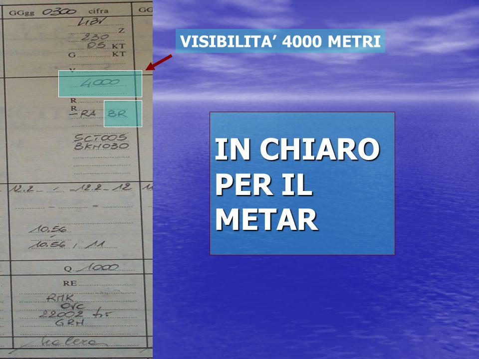 IN CHIARO PER IL METAR VISIBILITA 4000 METRI