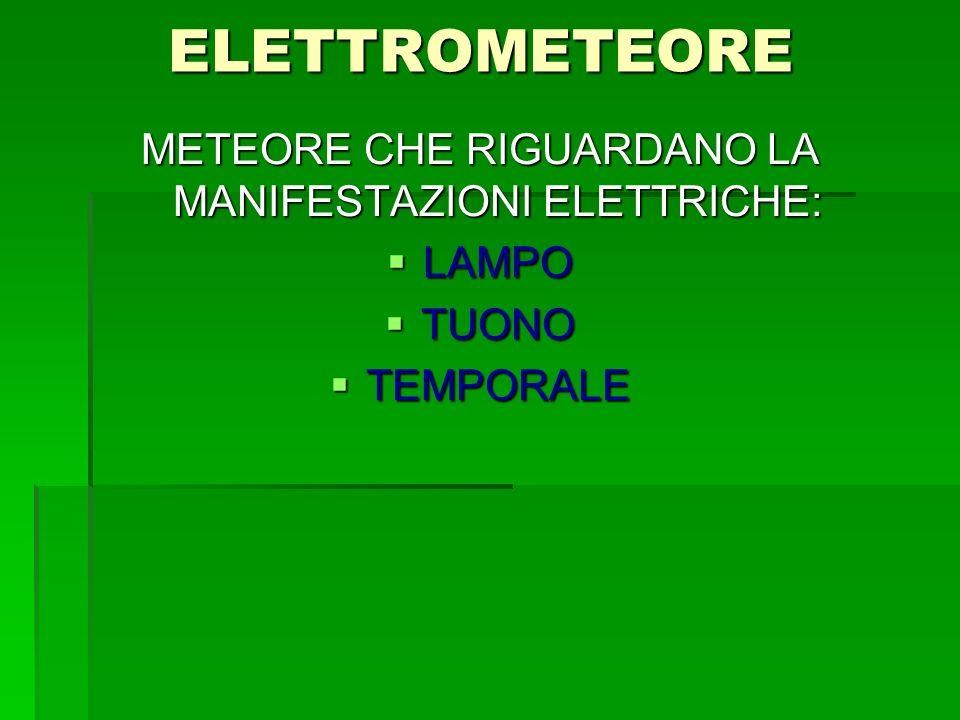 ELETTROMETEORE METEORE CHE RIGUARDANO LA MANIFESTAZIONI ELETTRICHE: LAMPO LAMPO TUONO TUONO TEMPORALE TEMPORALE