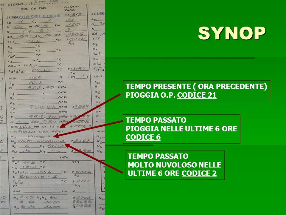 SYNOP TEMPO PRESENTE ( ORA PRECEDENTE) PIOGGIA O.P.