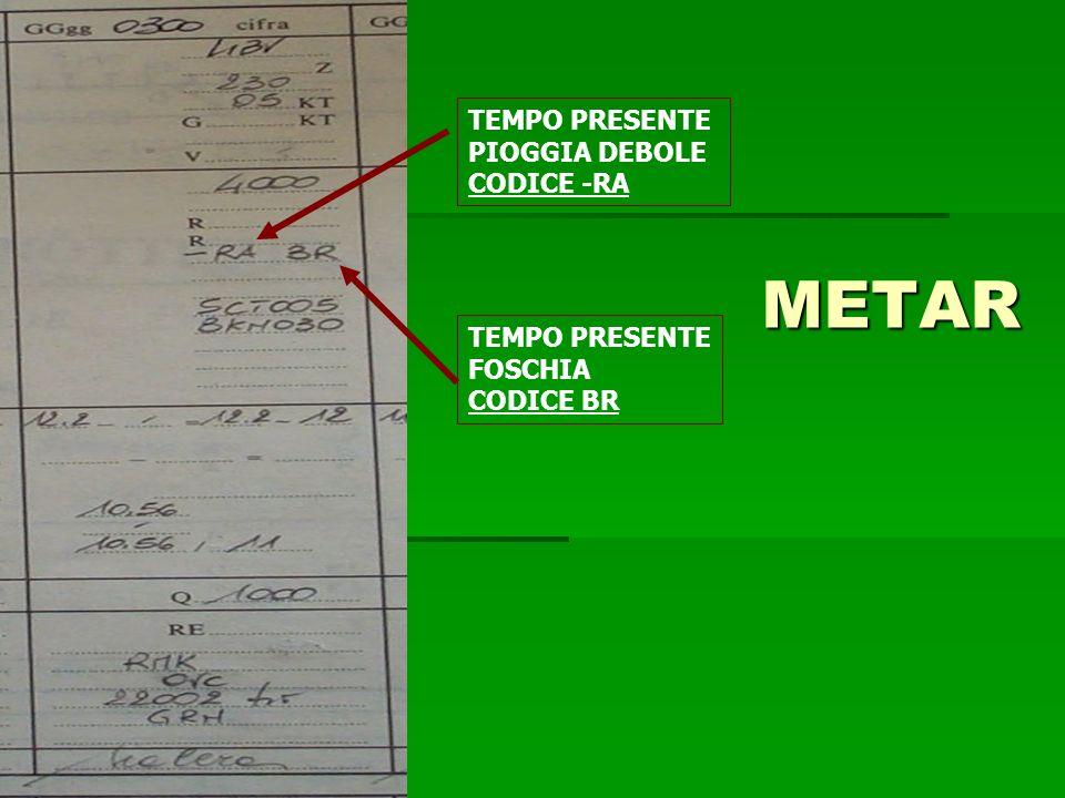 METAR TEMPO PRESENTE PIOGGIA DEBOLE CODICE -RA TEMPO PRESENTE FOSCHIA CODICE BR
