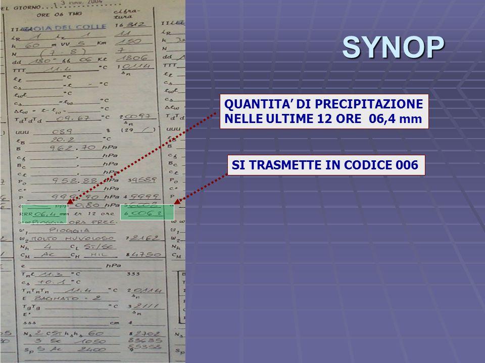 SYNOP QUANTITA DI PRECIPITAZIONE NELLE ULTIME 12 ORE 06,4 mm SI TRASMETTE IN CODICE 006