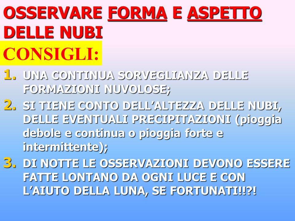 OSSERVARE FORMA E ASPETTO DELLE NUBI 1.UNA CONTINUA SORVEGLIANZA DELLE FORMAZIONI NUVOLOSE; 2.