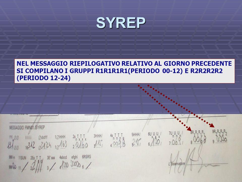 SYREP NEL MESSAGGIO RIEPILOGATIVO RELATIVO AL GIORNO PRECEDENTE SI COMPILANO I GRUPPI R1R1R1R1(PERIODO 00-12) E R2R2R2R2 (PERIODO 12-24)