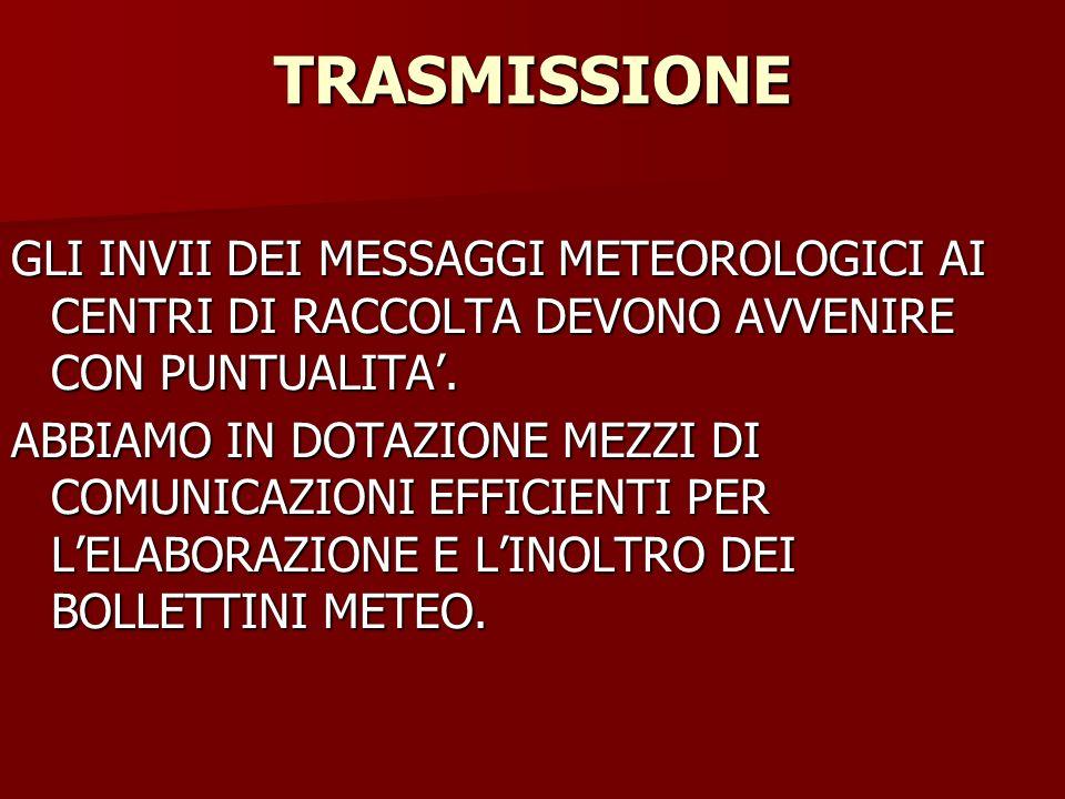 TRASMISSIONE GLI INVII DEI MESSAGGI METEOROLOGICI AI CENTRI DI RACCOLTA DEVONO AVVENIRE CON PUNTUALITA.
