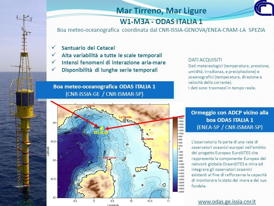 Santuario dei Cetacei Alta variabilità a tutte le scale temporali Intensi fenomeni di interazione aria-mare Disponibilità di lunghe serie temporali DA
