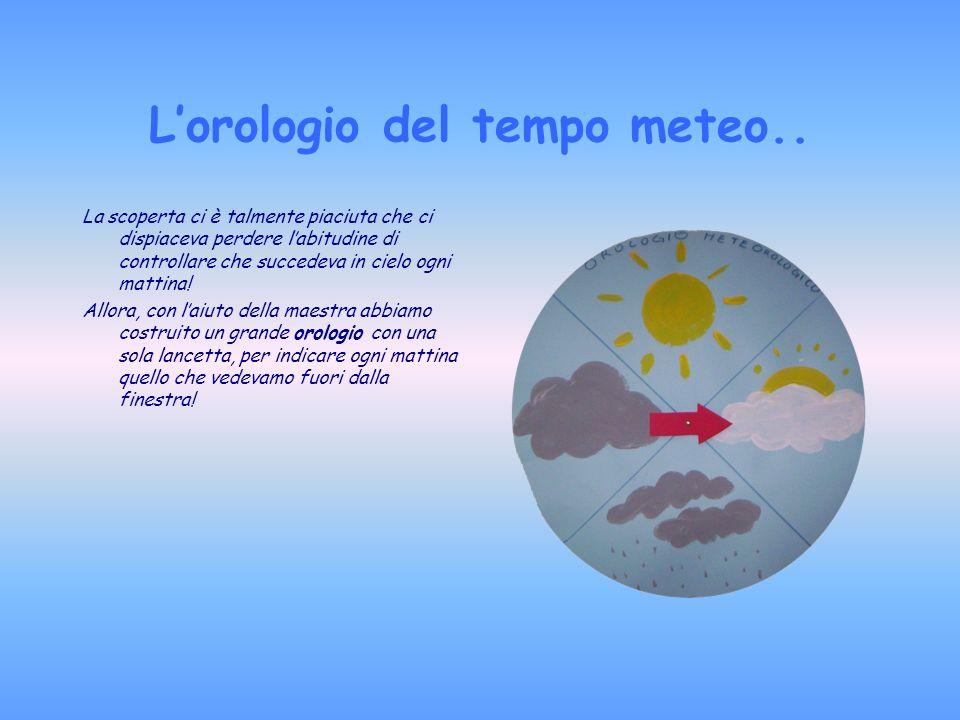 Lorologio del tempo meteo.. La scoperta ci è talmente piaciuta che ci dispiaceva perdere labitudine di controllare che succedeva in cielo ogni mattina